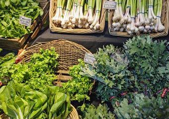 Fresh organic vegetables at a local farmers market.
