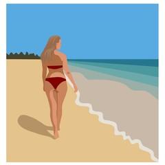 woman walking at beach in red bikini, vector
