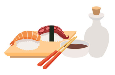 Sashimi and chopstick vector illustrations. Sushi and soy sauce vector. Seafood, fish fillet. Japanese food objects set. Cartoon style asian food. Vector illustration isolated on white background