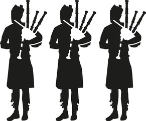 Three Bagpipe player silhouettes