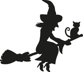 Cat and witch sitting on a flying broom