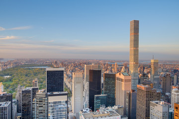 View of Central Park and Northern Manhattan Island from up on hi