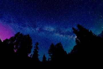Milky Way above Mountains. Mount Baker National Forest, Bellingham, Washington State, USA.
