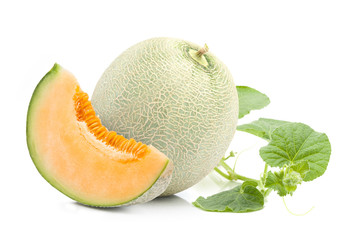 Orange cantaloupe melon  and leaves