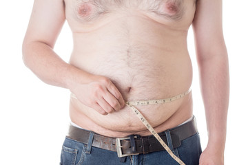 fat man check out his body fat with measuring tape