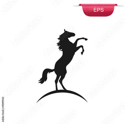 Black rearing horse, vector illustration