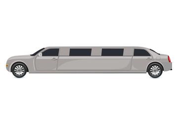 White limousine, vector illustration