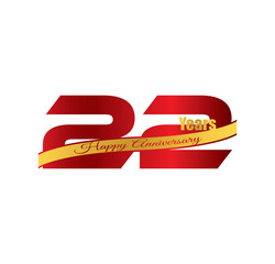 22 happy anniversary red golden ribbon