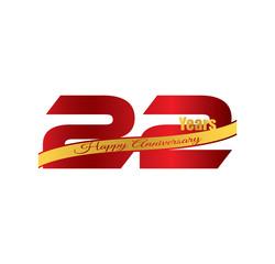 22 happy anniversary red golden ribbon