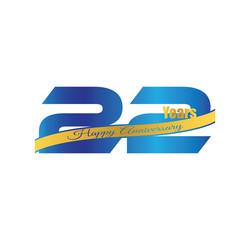 22 happy anniversary blue golden ribbon