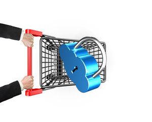 Cloud connecting security concept, lock on shopping cart with ha