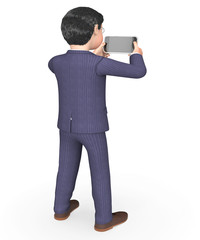 Photo Businessman Indicates Photograph Picture And Executive 3d