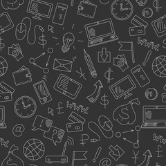 Seamless background on the topic of information technology and earn money online, simple hand-drawn contour icons, light outline on a dark background