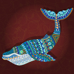 Illustration with abstract whale on a dark floral background