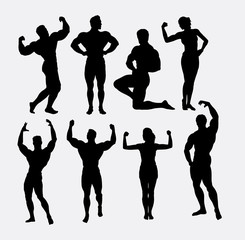 Male and female body builder, body beautiful sport silhouette. Good use for symbol, logo, mascot, sticker design, sign, or any design you want. Easy to use.