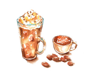 mocha frappe whip cream and cappuccino latte art watercolor pain