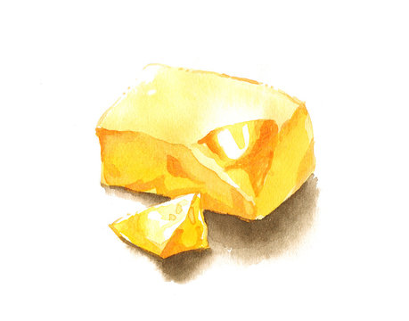 Yellow yummy butter watercolor painting
