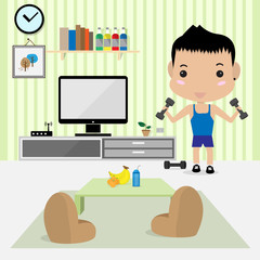 young man work out in living room