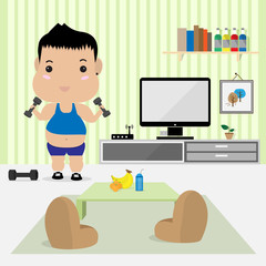 young fat man work out in living room