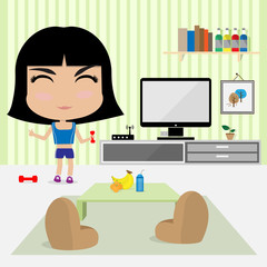 young cute girl work out at home in living room