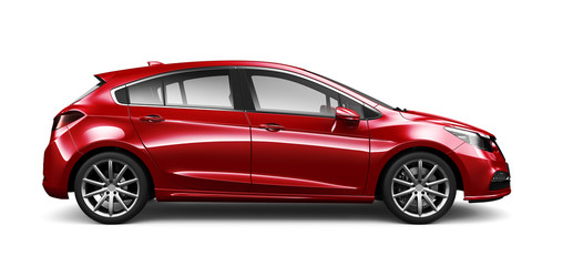 Red Hatchback Car - side view