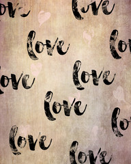 Wall art - poster with the word love in a handwritten type style, could also be used as a greeting card
