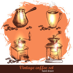 Vintage hand drawn coffee set with coffee beans. Sketch style.