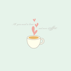 Cute coffee cup vector design illustration.
