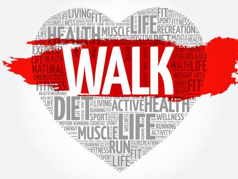 WALK heart word cloud, fitness, sport, health concept