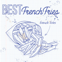 french fries scetch on a notebook page