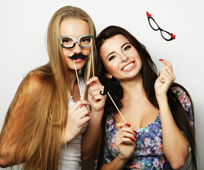 two stylish hipster girls best friends ready for party