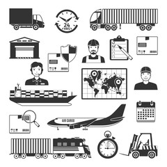 Logistic And Delivery Black Icons Set