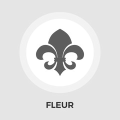 Fleur vector flat icon. Vintage Style.