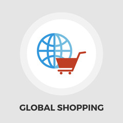 Global shopping flat icon