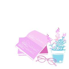 観葉植物、女性、休日、日本、リラックス、休息、自由、花、植木鉢、癒し、植物、葉、めがね、本、読書、リフレッシュ