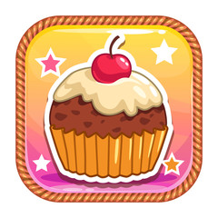 App icon with cute sweet cartoon cupcake