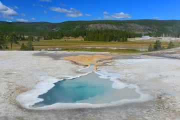 Old Faithful basin in Yellowstone National Park