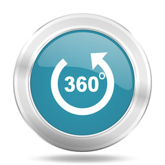 panorama icon, blue round glossy metallic button, web and mobile app design illustration