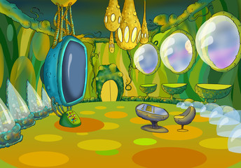 Alien Spaceship Cartoon Interior