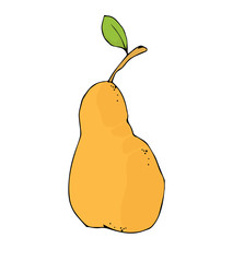 "Hand drawn vector illustration ""Pear"". Cartoon style."