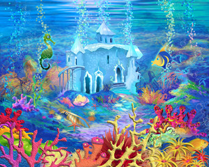 Mysterious and Fantasy Undersea World. Underwater Castle.