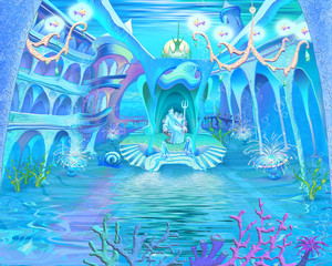Mysterious and Fantasy Undersea World. Underwater Castle Interio