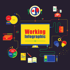 Business working infographics element. vector illustration