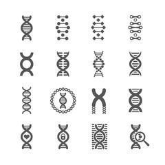DNA spiral vector black icons. Biology genetic signs and dna molecule symbols for chemistry or biology