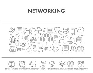 Line concept banner for networking