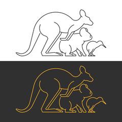 Vector line symbol australian animals