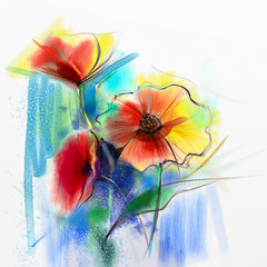 Abstract watercolor painting of spring flower. Still life of yellow, pink and red gerbera, daisy. Colorful bouquet flowers with light yellow, green, blue background. Hand Painted floral Impressionist