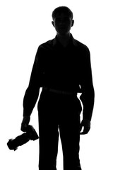 silhouette of a man with a camera