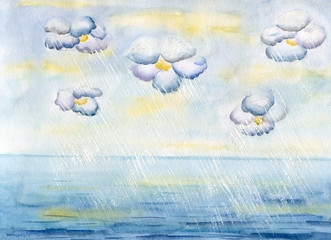 Clouds-flowers over sea