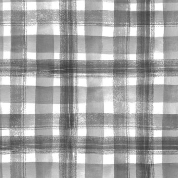 Watercolor stripes. Checkered seamless pattern 2. Black and white background